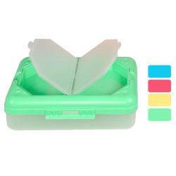 """C-Line 3-Compartment Storage Boxes, 4-15/16""""H x 2-1/2""""W x 7-15/16""""D, Assorted Colors, Pack Of 3 Boxes"""