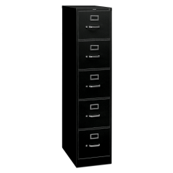 "HON® 310 26-1/2""D Vertical 5-Drawer Letter-Size File Cabinet, Metal, Black"