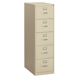 "HON® 310 26-1/2""D Vertical 5-Drawer Letter-Size File Cabinet, Metal, Putty"
