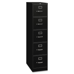"HON® 310 26-1/2""D Vertical 5-Drawer Legal-Size File Cabinet, Metal, Black"