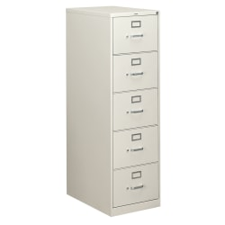 "HON® 310 26-1/2""D Vertical 5-Drawer Legal-Size File Cabinet, Metal, Light Gray"