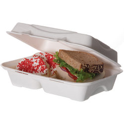 """Eco-Products 2-Compartment Clamshell Food Containers, 3""""H x 9""""W x 6""""D, Pack Of 250 Containers"""