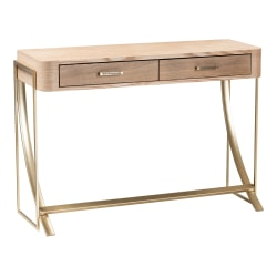 """Baxton Studio Contemporary Console Table, 29-1/2""""H x 42-1/2""""W x 16-1/8""""D, Gold/Natural"""