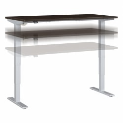 """Move 40 Series by Bush Business Furniture Height-Adjustable Standing Desk, 60"""" x 30"""", Mocha Cherry/Cool Gray Metallic, Standard Delivery"""