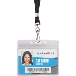 Advantus ID Holder/Lanyard Combo, Horizontal, Black/Clear, Pack of 20