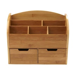 Mind Reader 6-Compartment Bamboo Desk Organizer With 2 Drawers, Brown