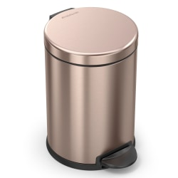 """simplehuman® Round Stainless-Steel Step Trash Can, 1.2 Gallons, 12-1/8""""H x 7-5/8""""W x 10""""D, Rose Gold"""