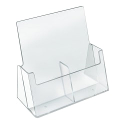 """Azar Displays 2-Pocket Side-By-Side Plastic Trifold Brochure Holders, 9-3/16""""H x 9-3/16""""W x 3-1/4""""D, Clear, Pack Of 2 Holders"""