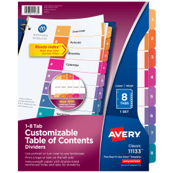 Avery® Ready Index® 20% Recycled Table Of Contents Dividers, 1-8 Tab, Multicolor