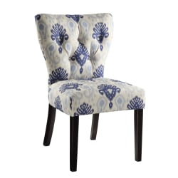 Ave Six Andrew Chair, Medallion Ikat Blue/Dark Brown