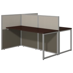 """Bush Business Furniture Easy Office 60""""W 2-Person Cubicle Desk Workstation With 45""""H Panels, Mocha Cherry/Silver Gray, Standard Delivery"""