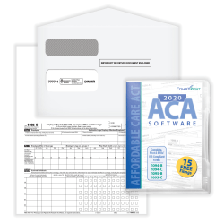 """ComplyRight™ 1095-C Tax Forms Sets, Employer-Provided Health Insurance Offer And Coverage Forms, With Envelopes And ACA Software, Laser, 8-1/2"""" x 11"""", Sets For 500 Employees"""