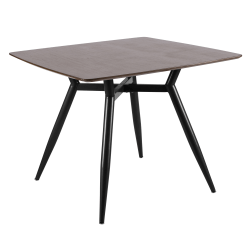 Lumisource Clara Mid-Century Modern Dining Table, Square, Walnut/Black