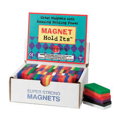 """Dowling Magnets Chunky Magnets, Block, 2""""H x 1""""W x 1/2""""D, Assorted Colors, Box Of 40"""