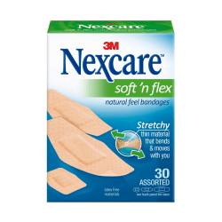 "Nexcare Soft 'n Flex Bandages, Assorted - Assorted Sizes - 0.94"" x 1.13"", 1.13"" x 3"", 0.88"" x 2.25"" - 30/Box - 30 Per Box - Tan - Fabric"