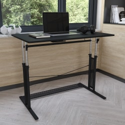 "Flash Furniture Height-Adjustable Sit-To-Stand Home Office Desk, 35-3/4""H x 39-1/4""W x 23-3/4""D, Black"