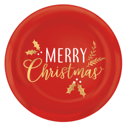 """Amscan Merry Christmas Round Coupe Platters, 14"""", Red, Set Of 4 Platters"""
