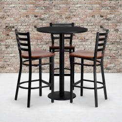 "Flash Furniture Round Table And 3 Ladder-Back Barstools, 42"" x 30"", Black"