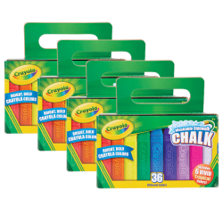 Crayola® Washable Sidewalk Chalk, Assorted Colors, 36 Pieces Per Box, Pack Of 4 Boxes