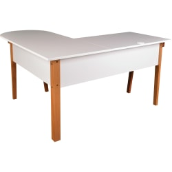 Lorell™ Mid-Century Modern Office L-Desk, Natural/White