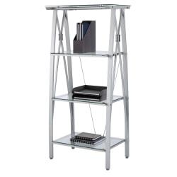 "Realspace® Vista 60""H 4-Shelf Glass/Metal Bookcase, Clear/Silver"