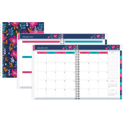 """Office Depot® Brand Weekly/Monthly Planner, 5"""" x 8"""", Happy Dahlias, January to December 2019"""