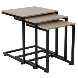 "Flash Furniture Wood Grain Nesting Tables, 19-3/4""H x 17-3/4""W x 15-3/4""D, Sonoma Oak, Set Of 3 Tables"
