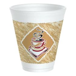Dart Café G Design Foam Cups, 12 Oz, Brown/Red/White, Box Of 1,000 Cups