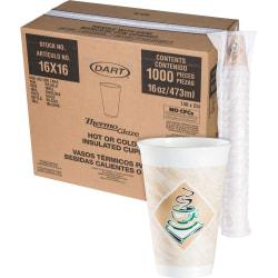 Dart Cafe G Design Foam Cups, 16 Oz, Brown/Green/White, Box Of 1,000