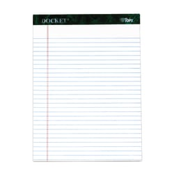 "TOPS™ Docket™ Writing Pad, 8 1/2"" x 11 3/4"", Legal Ruled, 50 Sheets, White"