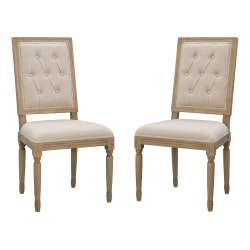 Linon Leigh Dining Chairs, Rustic Brown/Natural, Set Of 2 Chairs