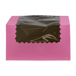 "BOXit Corporation Cake Boxes With Window, 7"" x 7"", 100% Recycled, Pink, Pack Of 200"