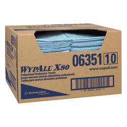 "WypAll X80 1/4-Fold Food Service Fabric Towels, 13 1/2"" x 24"", Blue, Carton Of 150"