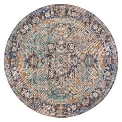 "Anji Mountain Hazaran Round Area Rug, 48"", Multicolor"