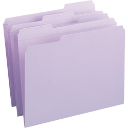 Smead® Color File Folders, With Reinforced Tabs, Letter Size, 1/3 Cut, Lavender, Box Of 100