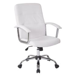Office Star™ Avenue Six Malta Vinyl Mid-Back Chair, White/Silver