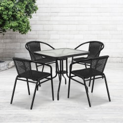 """Flash Furniture Square Glass And Metal Table With 4 Rattan Stack Chairs, 28"""", Clear/Black"""