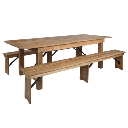 "Flash Furniture Folding Farm Table And 2-Bench Set, 30""H x 40""W x 96""D, Antique Rustic"
