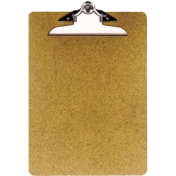 """OIC® 100% Recycled Hardboard Clipboard, Letter Size, 9"""" x 12 1/2"""", Brown"""