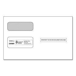 ComplyRight Double-Window Envelopes For 2-Up 1099 Tax Forms, Moisture-Seal, White, Pack Of 100 Envelopes