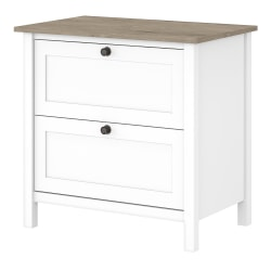 "Bush Business Furniture Mayfield 31""W Lateral 2-Drawer File Cabinet, Pure White/Shiplap Gray, Standard Delivery"