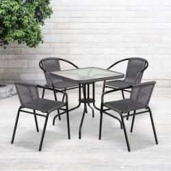 """Flash Furniture Square Glass And Metal Table With 4 Rattan Stack Chairs, 28"""", Clear/Gray"""