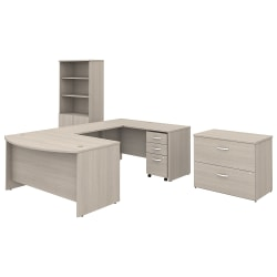 "Bush Business Furniture Studio C 60""W x 36""D U-Shaped Desk With Bookcase And File Cabinets, Sand Oak, Standard Delivery"