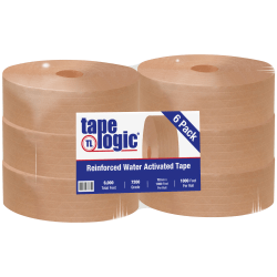 "Tape Logic® Reinforced Water-Activated Packing Tape, #7200, 3"" Core, 2.8"" x 1,000', Kraft, Case Of 6"