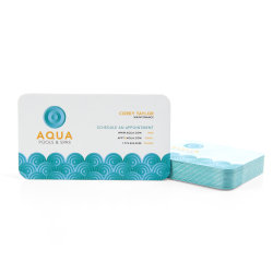 Custom Full-Color Luxury Heavy Weight Color Core Business Cards, Aqua Core, Rounded Corners, 2-Sided, Box Of 50