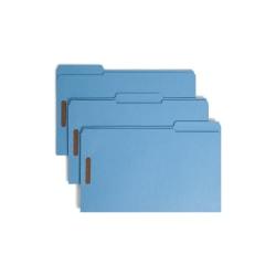 Smead® Color Reinforced Tab Fastener Folders, Legal Size, 1/3 Cut, Blue, Pack Of 50