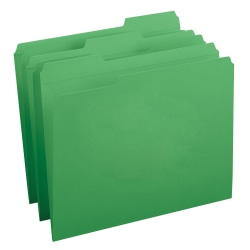 Smead® Color File Folders, With Reinforced Tabs, Legal Size, 1/3 Cut, Green, Box Of 100
