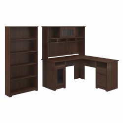 """Bush Furniture Cabot 60""""W L-Shaped Computer Desk With Hutch And 5-Shelf Bookcase, Modern Walnut, Standard Delivery"""