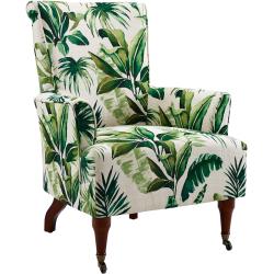 Linon Jasmine Arm Chair, Green Leaf/Dark Walnut