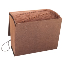 """Smead® TUFF® Expanding File With Flap & Elastic Cord, 31 Pockets, 1-31, 12"""" x 10"""" Letter Size, 30% Recycled, Brown"""
